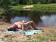 Naked gay sex fun at a pond