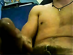 Rubbing his gay fat dick at home