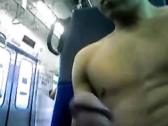 Hot boy risks masturbating in public