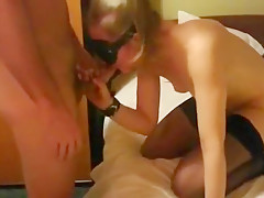 Blindfolded cuckold surprise. she has no idea who's fucking her !!!