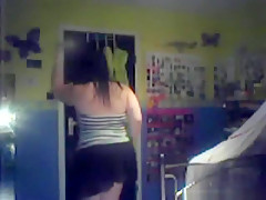 Fat girl tries to be sexy in her bedroom and plays with a toy on the floor