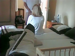 Nerd has a missionary quickie and dumps a load in his wife's pussy