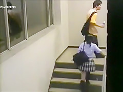 Voyeur busts a japanese student riding a teacher on campus !!!