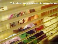Voyeur tapes 2 neighbor girls naked through their bedroom window