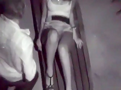 Voyeur tapes a partygirl getting fucked on a bench in public and moaning like crazy