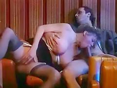 Mature amateur bitch enjoys gangbang sex in a cinema