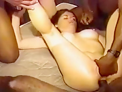 Me and my black buddies fuck a kinky bitch and fill her cunt with cum