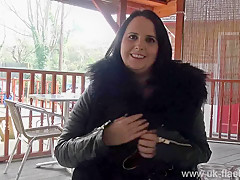 Chubby amateur Sarah Janes public masturbation and bbw milf flashing big tits outdoors