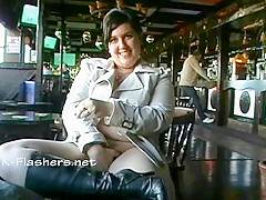 Amateur bbw Kinx upskirt masturbation in a bar and outdoor public nudity of toying fat babe feeding her exhibitionism