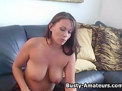 Busty Lesley masturbates after hot interview