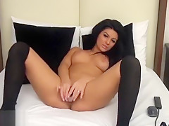Beautiful brunette Anniela fucks herself