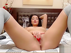 Delightful babe SuperbBianca plays with her pussy