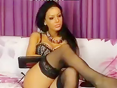 Brunette CherieLove in black stockings