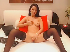 Beautiful brunette MissAbella fingering her pussy