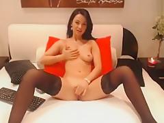 Beautiful brunette MissAbella fingering her pussy