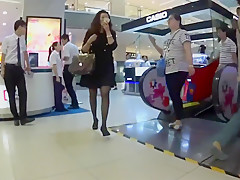 Chinese dude cum on girl skirt in the department store
