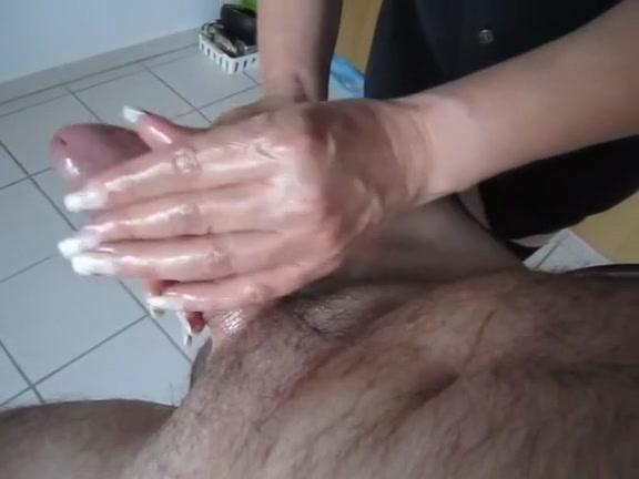 Giving my hubby an oily handjob