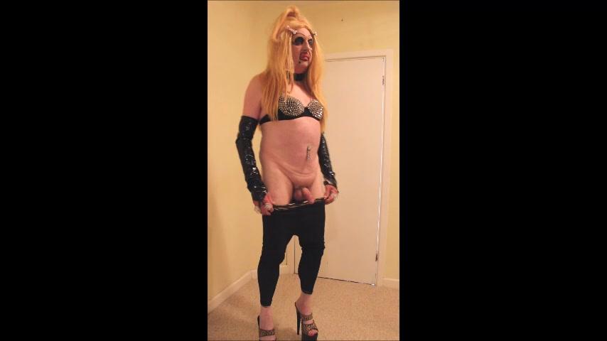 Blonde slut in black leggings and platform mules