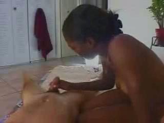 Ebony girl handjob