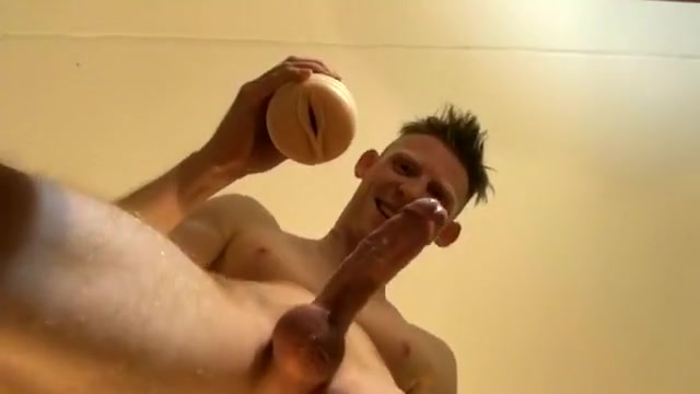ORGASM CONTRACTIONS FROM BELOW-VIEW FLESHLIGHT CREAMPIE!