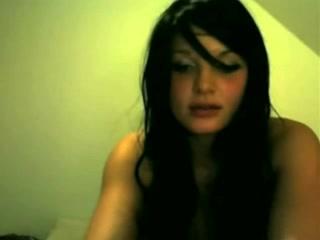 Pretty emo teen strips for webcam