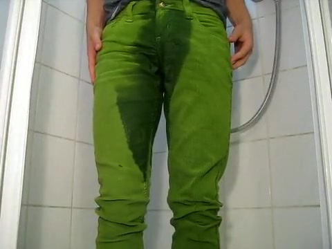 peeing in bright green cord jeans