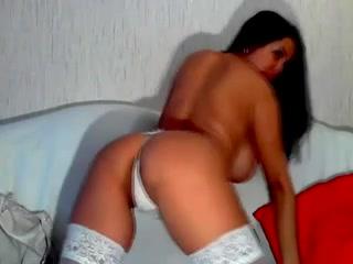 Girlfriend with big jugs strips down