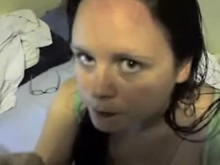 Cum hungry wife orall-service job and shotglass cum consume