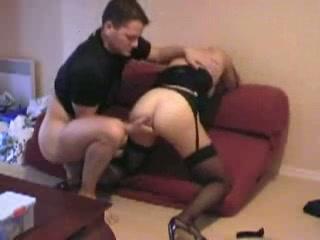 Horny slut doing sweet blowjob