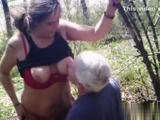 Caught older pair fucking in the woods