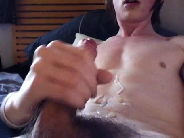 Emo gay boy jerks his uncut cock