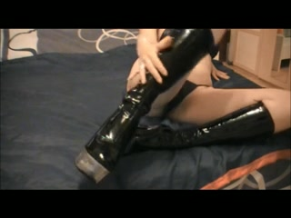 Fetish porn video with latex boots