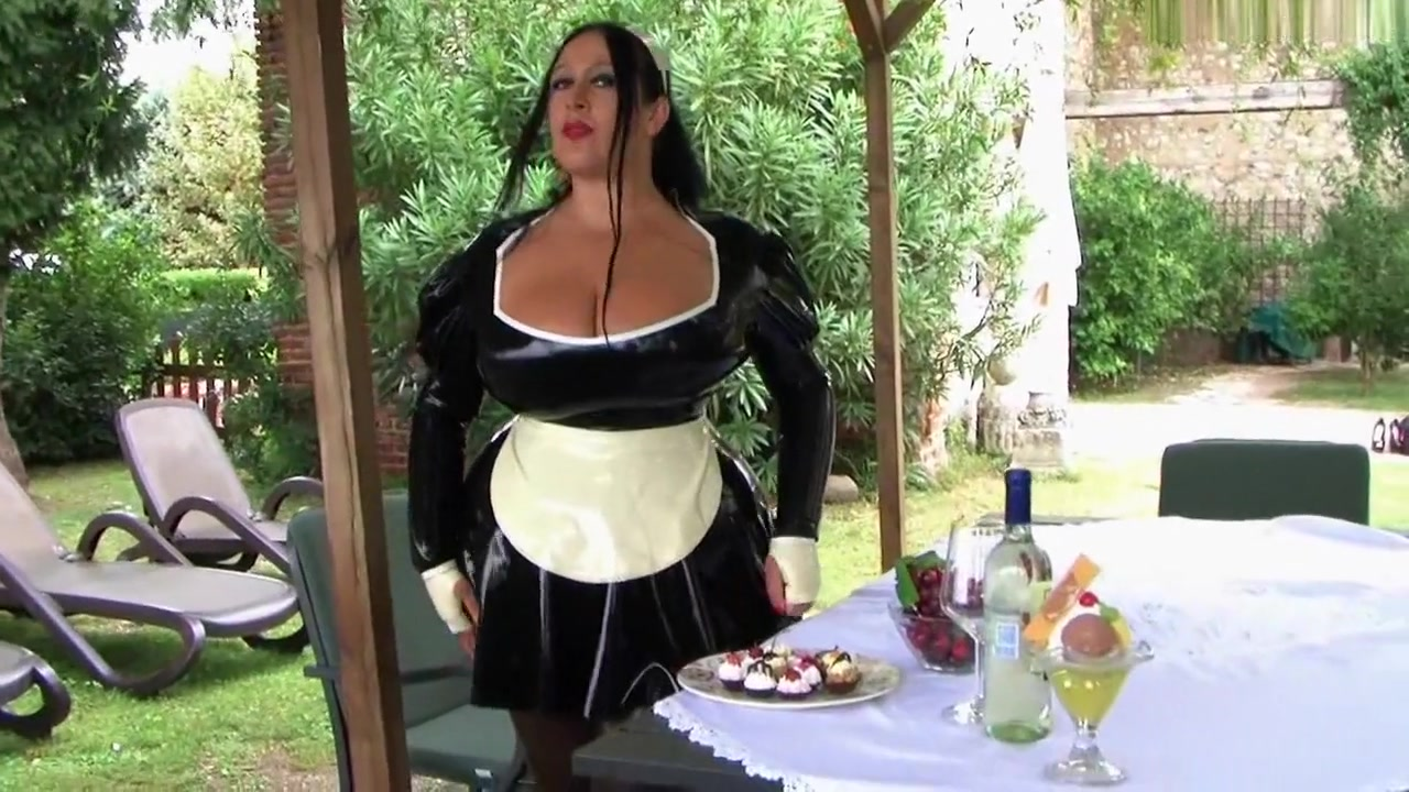 Yummy monster tits sexy black maid serving two huge dongs